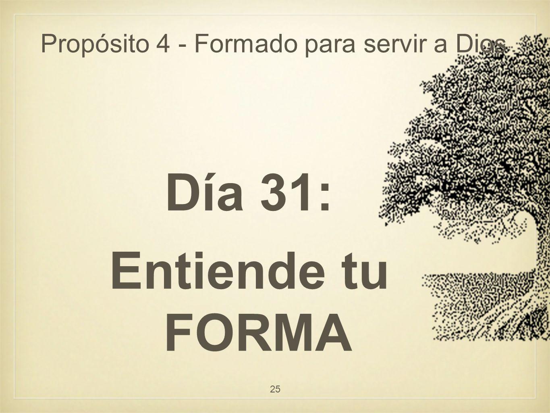 Propósito 4 - Formado para servir a Dios Día 31: Entiende tu FORMA 25