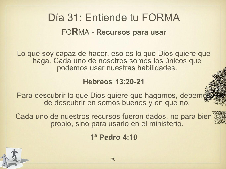Día 31: Entiende tu FORMA FO R MA - Recursos para usar Lo que soy capaz de hacer, eso es lo que Dios quiere que haga.