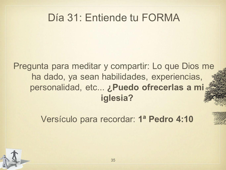 Día 31: Entiende tu FORMA Pregunta para meditar y compartir: Lo que Dios me ha dado, ya sean habilidades, experiencias, personalidad, etc...
