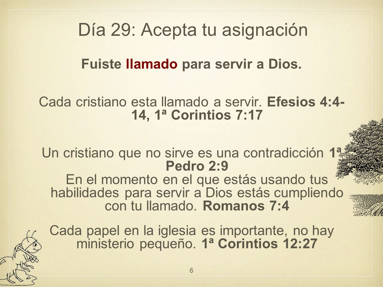 Día 29: Acepta tu asignación Fuiste llamado para servir a Dios.