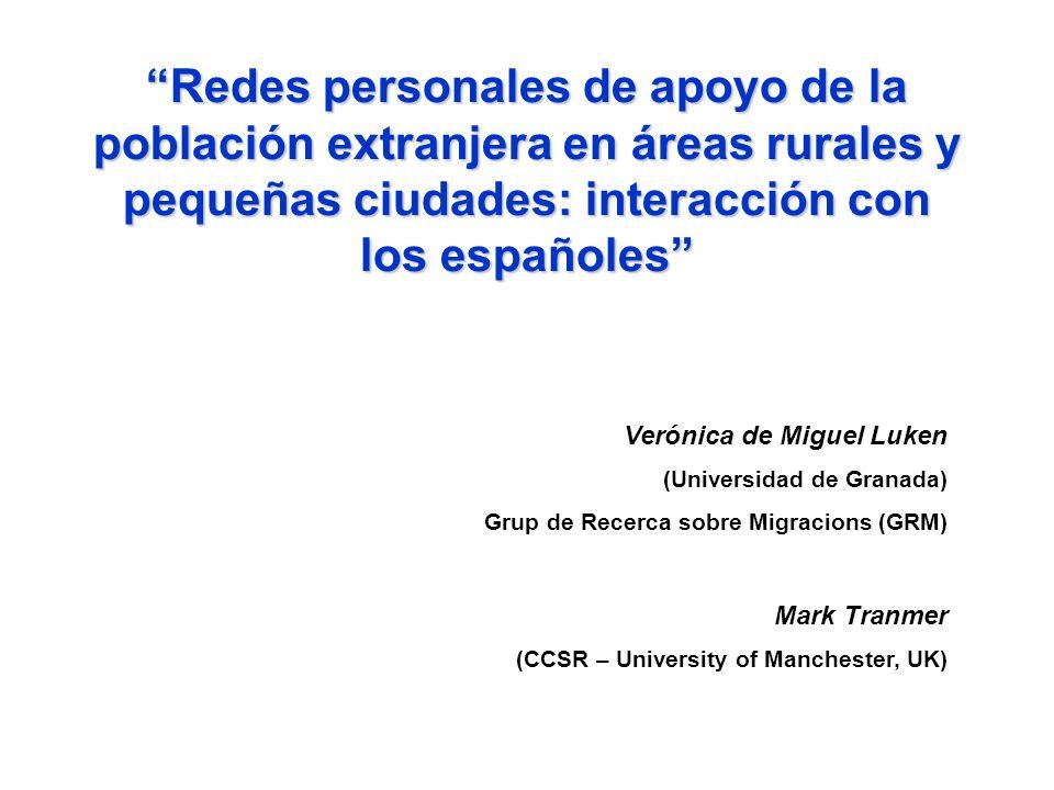 Redes personales de apoyo de la población extranjera en áreas rurales y pequeñas ciudades: interacción con los españoles Verónica de Miguel Luken (Uni