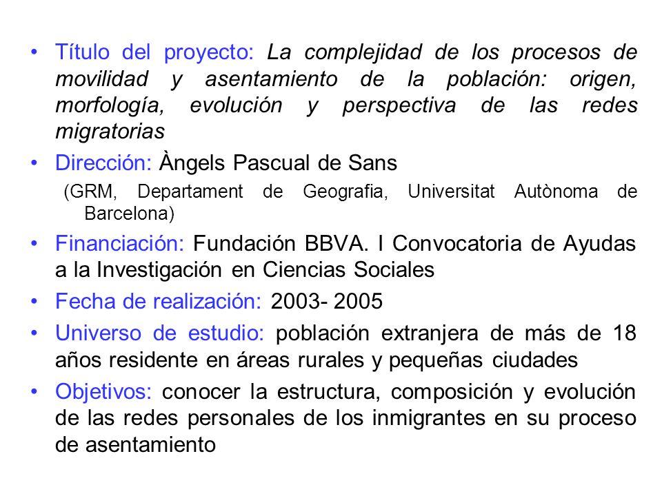 Título del proyecto: La complejidad de los procesos de movilidad y asentamiento de la población: origen, morfología, evolución y perspectiva de las re