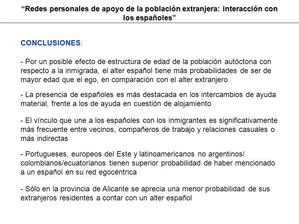 Redes personales de apoyo de la población extranjera: interacción con los españoles CONCLUSIONES: - Por un posible efecto de estructura de edad de la