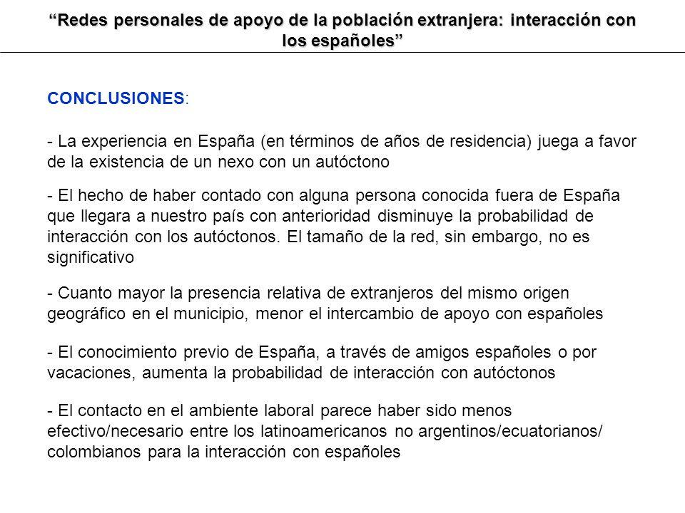 Redes personales de apoyo de la población extranjera: interacción con los españoles CONCLUSIONES: - La experiencia en España (en términos de años de r