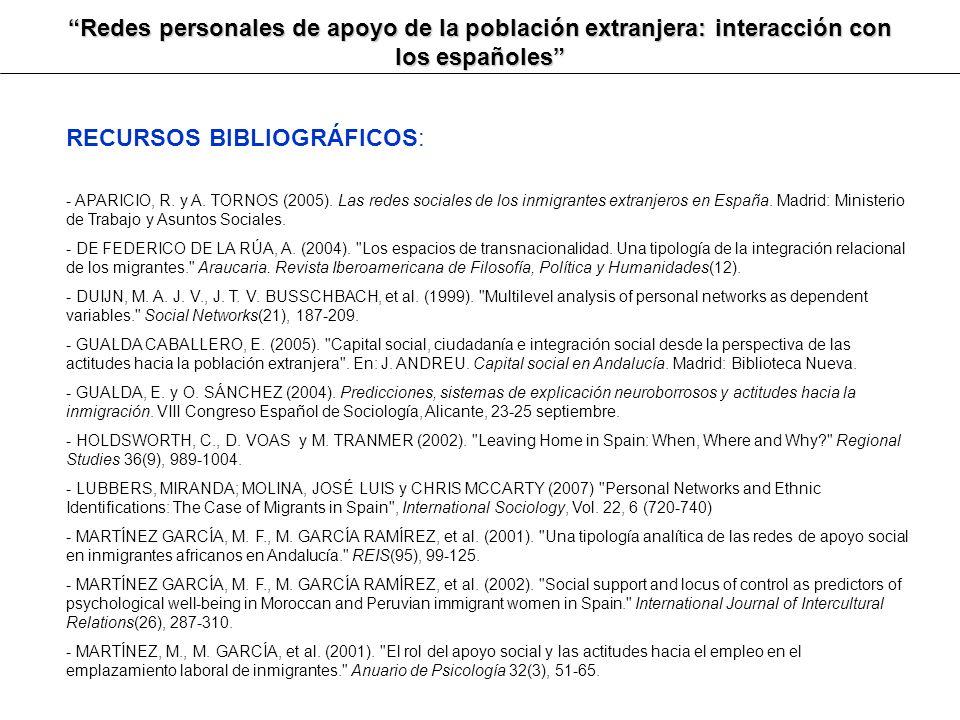 Redes personales de apoyo de la población extranjera: interacción con los españoles RECURSOS BIBLIOGRÁFICOS: - APARICIO, R. y A. TORNOS (2005). Las re