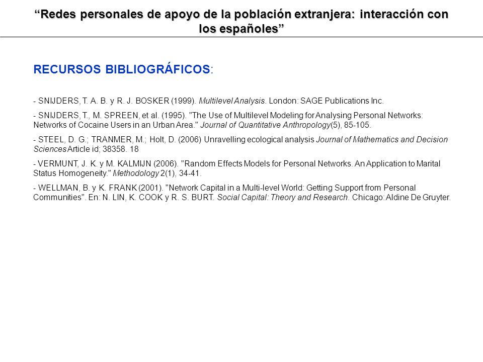 Redes personales de apoyo de la población extranjera: interacción con los españoles RECURSOS BIBLIOGRÁFICOS: - SNIJDERS, T. A. B. y R. J. BOSKER (1999