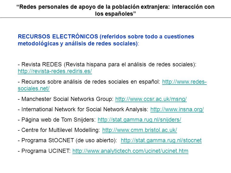 Redes personales de apoyo de la población extranjera: interacción con los españoles RECURSOS ELECTRÓNICOS (referidos sobre todo a cuestiones metodológ