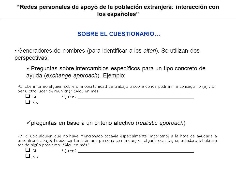 Redes personales de apoyo de la población extranjera: interacción con los españoles SOBRE EL CUESTIONARIO… Generadores de nombres (para identificar a