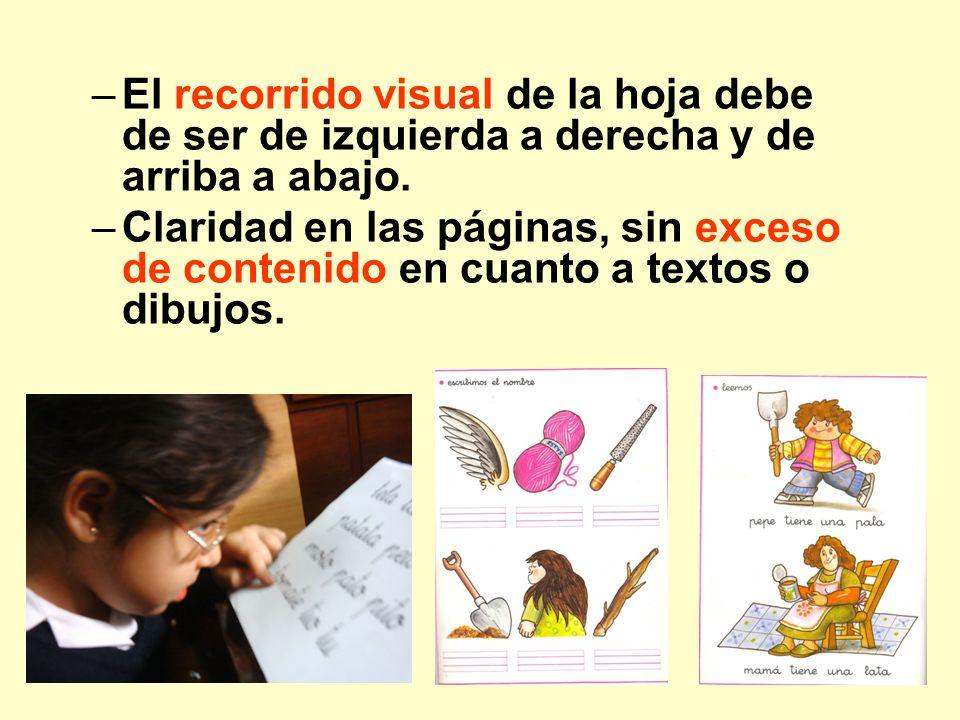 –El recorrido visual de la hoja debe de ser de izquierda a derecha y de arriba a abajo. –Claridad en las páginas, sin exceso de contenido en cuanto a