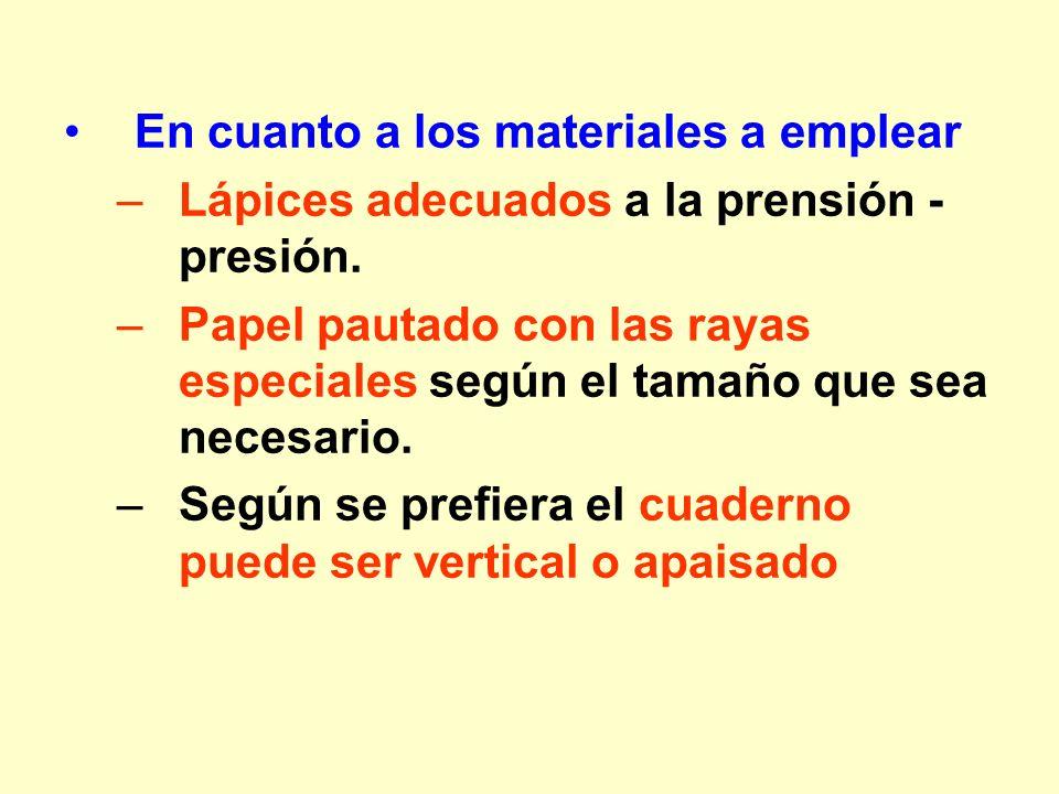 En cuanto a los materiales a emplear –Lápices adecuados a la prensión - presión. –Papel pautado con las rayas especiales según el tamaño que sea neces