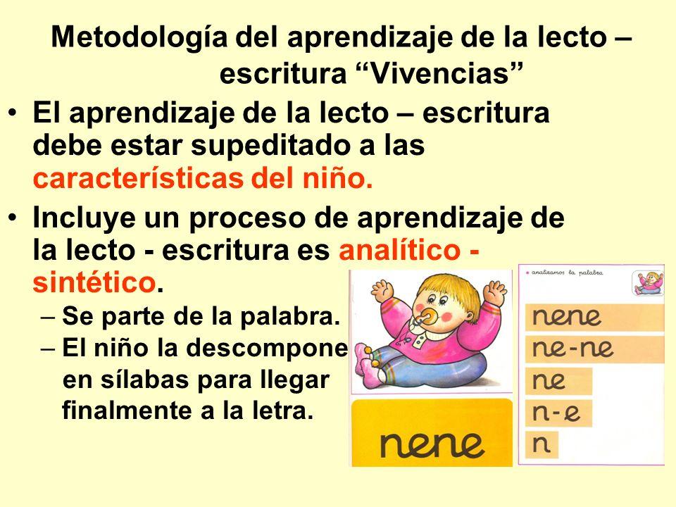 Metodología del aprendizaje de la lecto – escritura Vivencias El aprendizaje de la lecto – escritura debe estar supeditado a las características del n