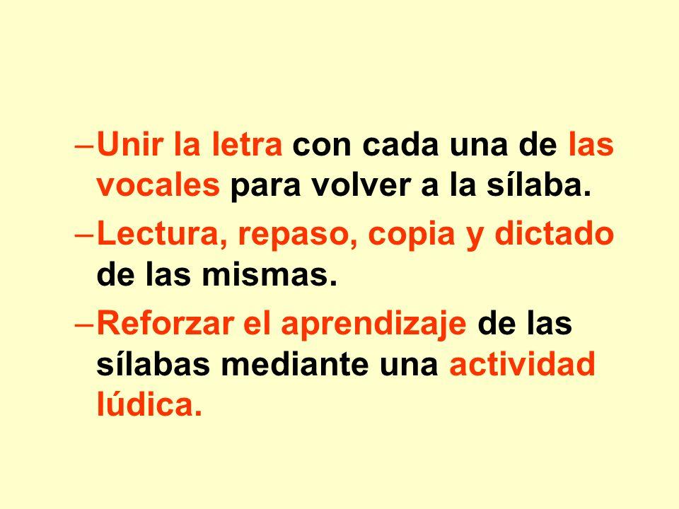–Unir la letra con cada una de las vocales para volver a la sílaba. –Lectura, repaso, copia y dictado de las mismas. –Reforzar el aprendizaje de las s
