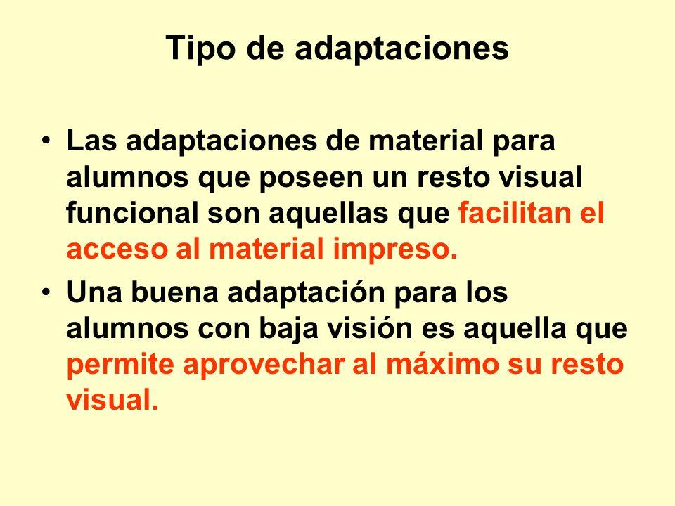 Tipo de adaptaciones Las adaptaciones de material para alumnos que poseen un resto visual funcional son aquellas que facilitan el acceso al material i