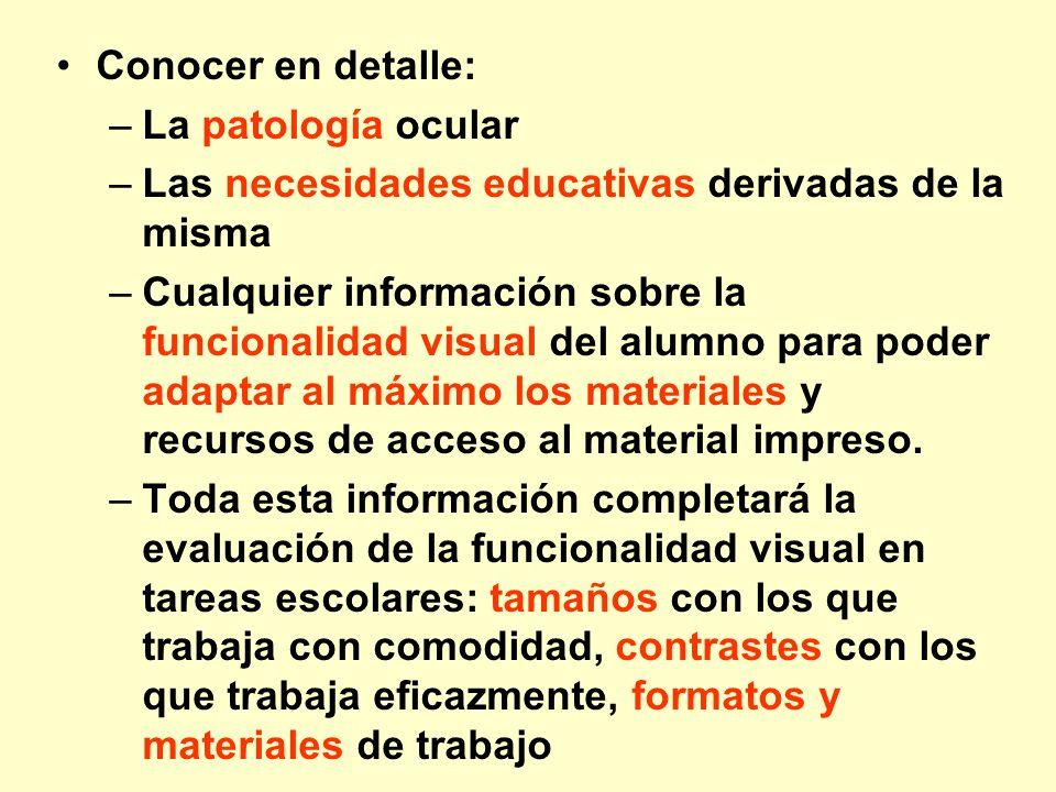Conocer en detalle: –La patología ocular –Las necesidades educativas derivadas de la misma –Cualquier información sobre la funcionalidad visual del al