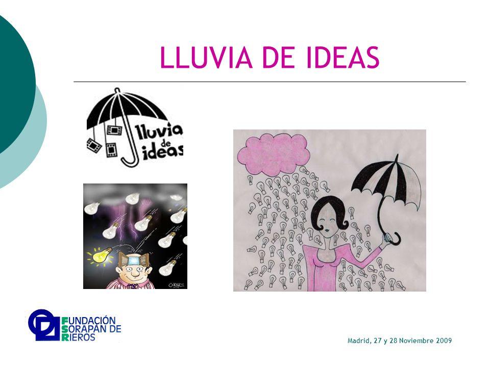 LLUVIA DE IDEAS Madrid, 27 y 28 Noviembre 2009