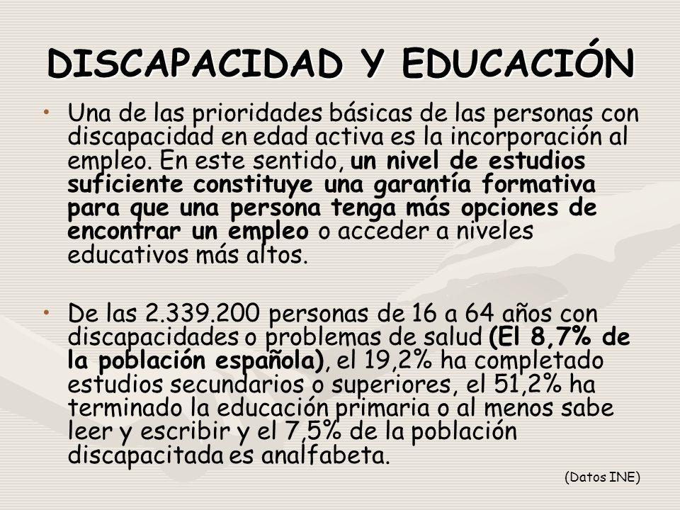 DISCAPACIDAD Y EDUCACIÓN Una de las prioridades básicas de las personas con discapacidad en edad activa es la incorporación al empleo.