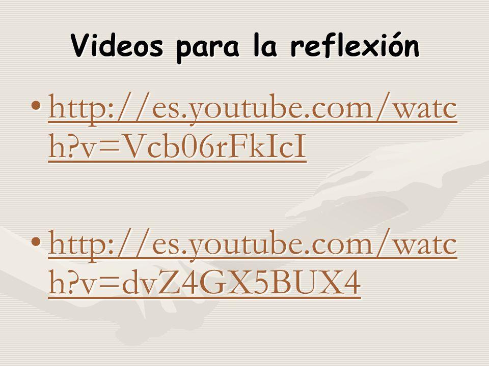 Videos para la reflexión http://es.youtube.com/watc h v=Vcb06rFkIcIhttp://es.youtube.com/watc h v=Vcb06rFkIcIhttp://es.youtube.com/watc h v=Vcb06rFkIcIhttp://es.youtube.com/watc h v=Vcb06rFkIcI http://es.youtube.com/watc h v=dvZ4GX5BUX4http://es.youtube.com/watc h v=dvZ4GX5BUX4http://es.youtube.com/watc h v=dvZ4GX5BUX4http://es.youtube.com/watc h v=dvZ4GX5BUX4