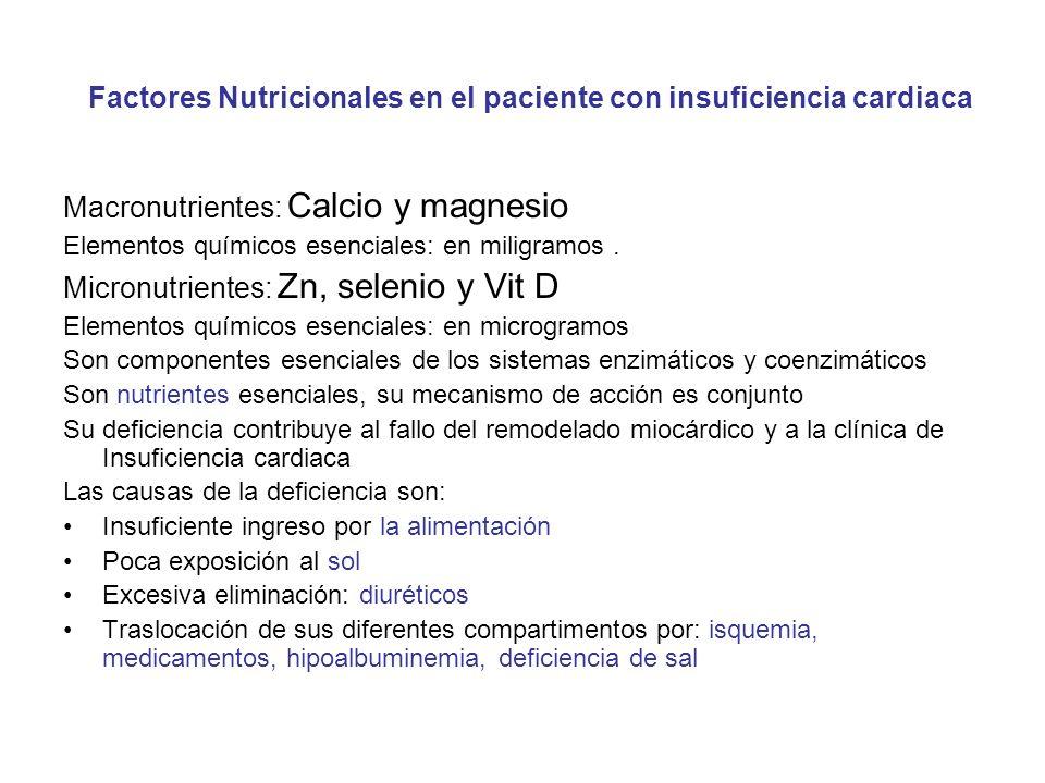 Factores Nutricionales en el paciente con insuficiencia cardiaca Macronutrientes: Calcio y magnesio Elementos químicos esenciales: en miligramos. Micr