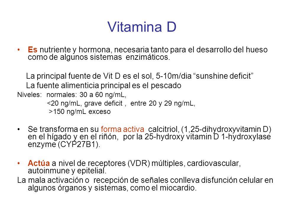 Vitamina D Es nutriente y hormona, necesaria tanto para el desarrollo del hueso como de algunos sistemas enzimáticos. La principal fuente de Vit D es