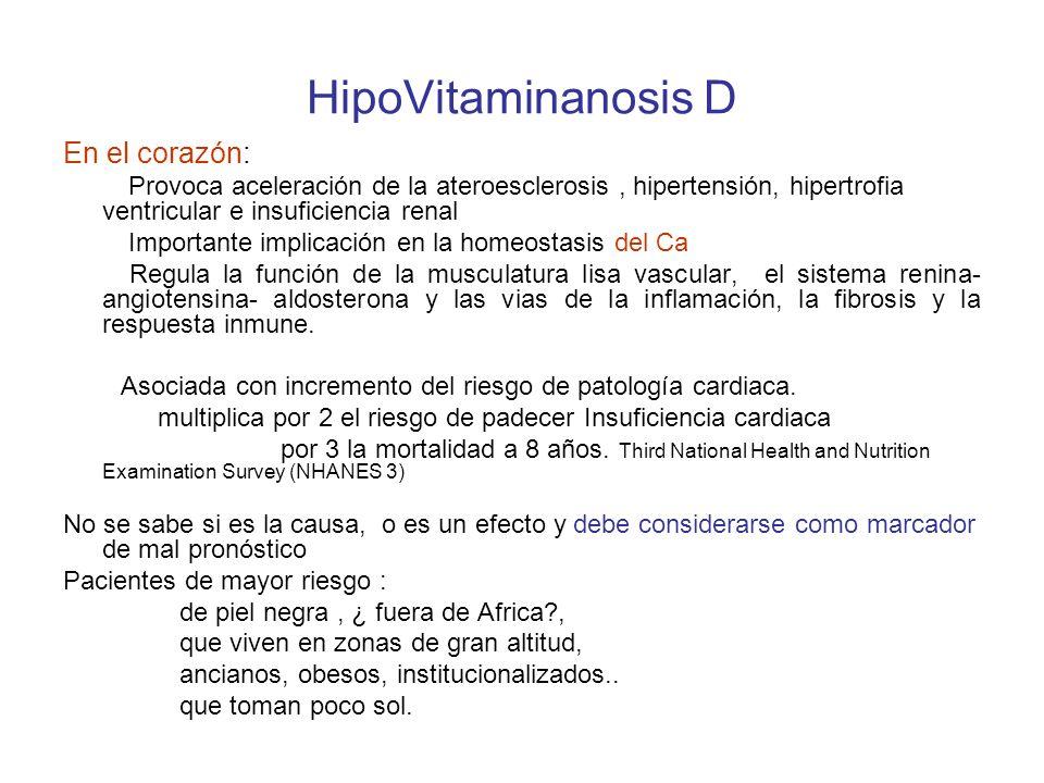 HipoVitaminanosis D En el corazón: Provoca aceleración de la ateroesclerosis, hipertensión, hipertrofia ventricular e insuficiencia renal Importante implicación en la homeostasis del Ca Regula la función de la musculatura lisa vascular, el sistema renina- angiotensina- aldosterona y las vias de la inflamación, la fibrosis y la respuesta inmune.