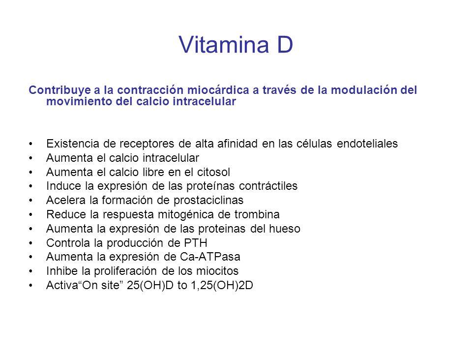 Vitamina D Contribuye a la contracción miocárdica a través de la modulación del movimiento del calcio intracelular Existencia de receptores de alta af
