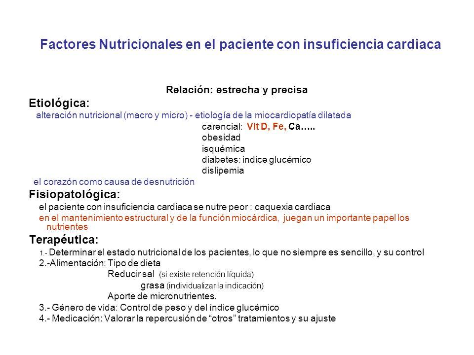 Relación: estrecha y precisa Etiológica: alteración nutricional (macro y micro) - etiología de la miocardiopatía dilatada carencial: Vit D, Fe, Ca…..