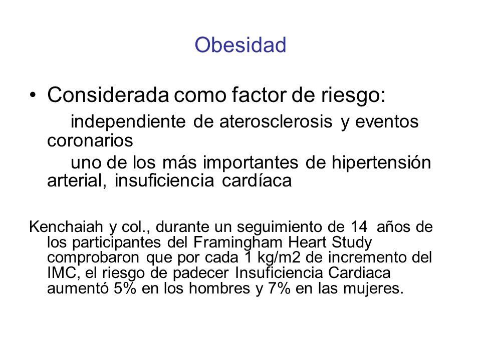 Obesidad Considerada como factor de riesgo: independiente de aterosclerosis y eventos coronarios uno de los más importantes de hipertensión arterial,