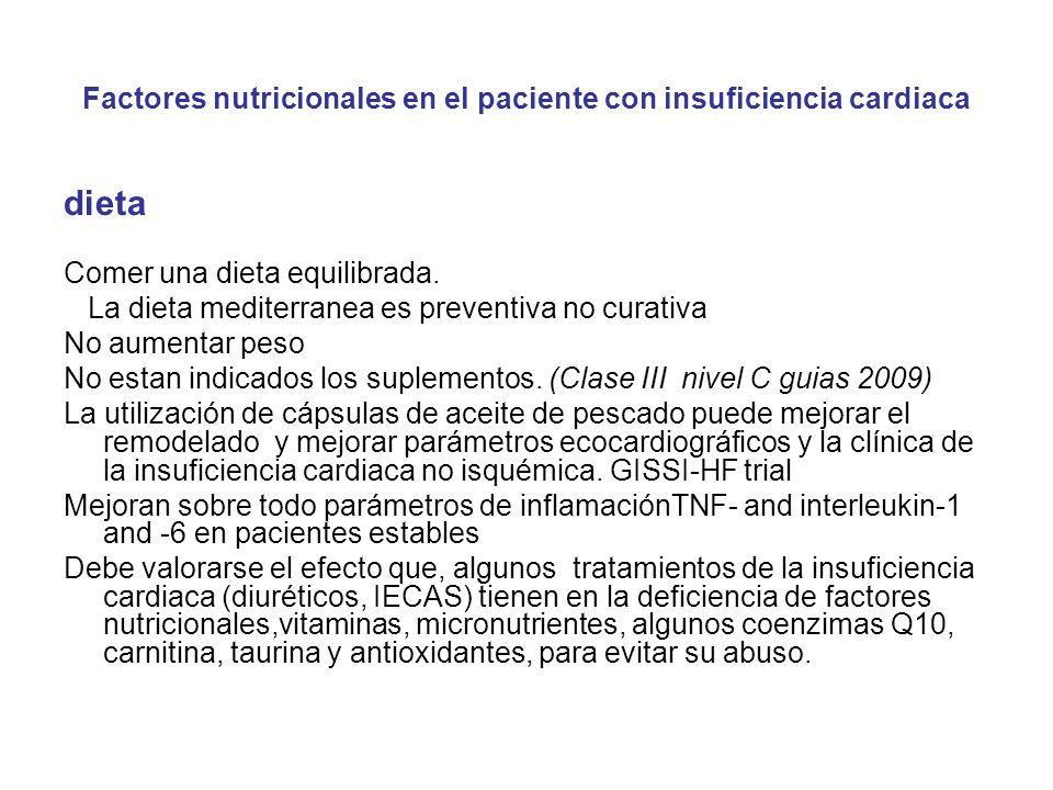 Factores nutricionales en el paciente con insuficiencia cardiaca dieta Comer una dieta equilibrada. La dieta mediterranea es preventiva no curativa No