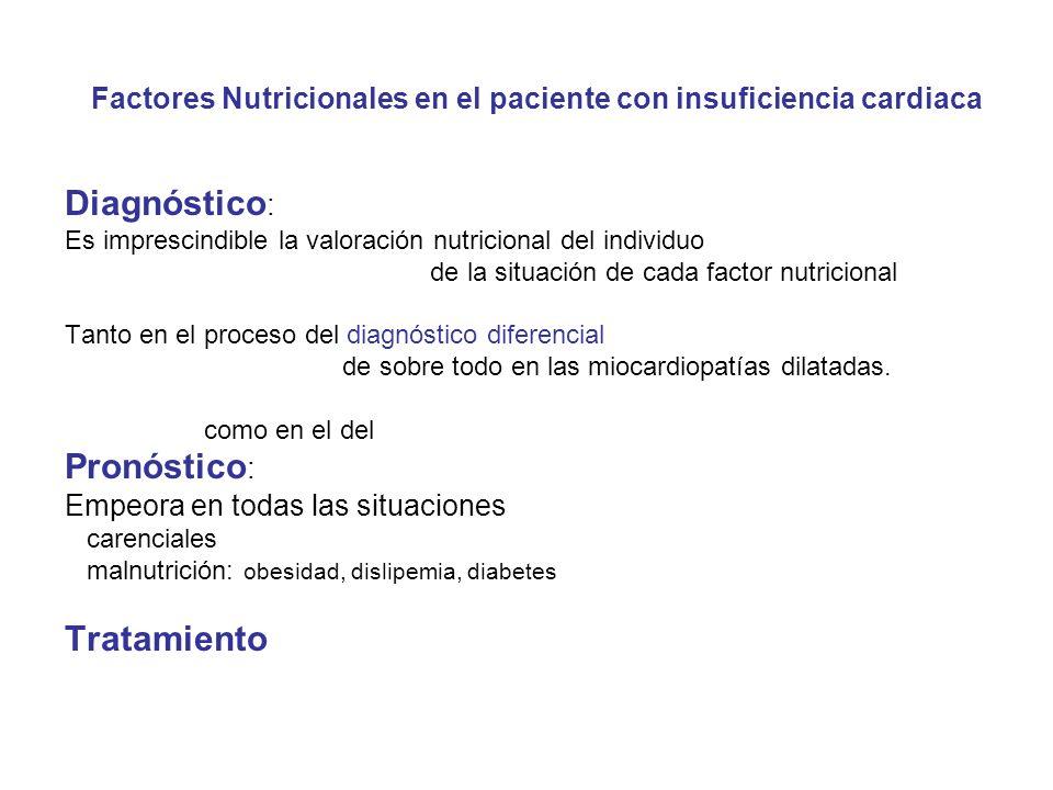 Factores Nutricionales en el paciente con insuficiencia cardiaca Diagnóstico : Es imprescindible la valoración nutricional del individuo de la situación de cada factor nutricional Tanto en el proceso del diagnóstico diferencial de sobre todo en las miocardiopatías dilatadas.