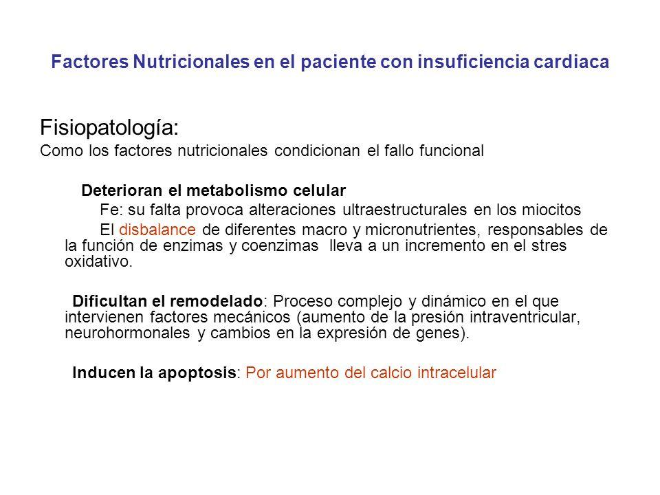 Factores Nutricionales en el paciente con insuficiencia cardiaca Fisiopatología: Como los factores nutricionales condicionan el fallo funcional Deteri