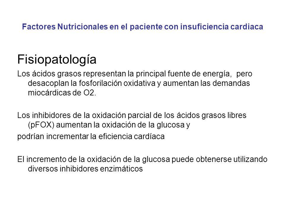 Factores Nutricionales en el paciente con insuficiencia cardiaca Fisiopatología Los ácidos grasos representan la principal fuente de energía, pero desacoplan la fosforilación oxidativa y aumentan las demandas miocárdicas de O2.