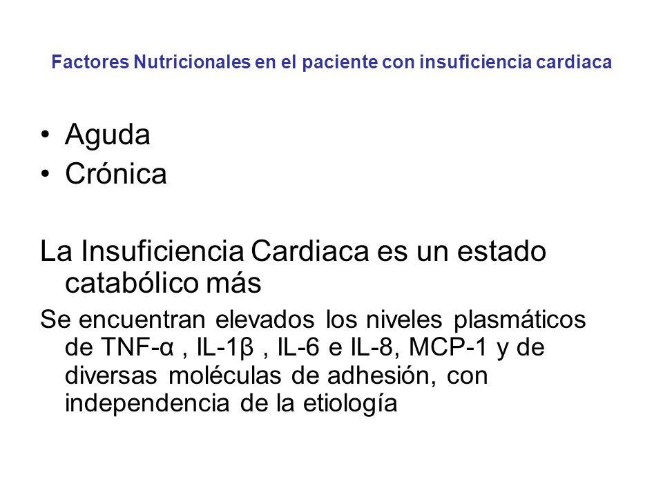 Factores Nutricionales en el paciente con insuficiencia cardiaca Aguda Crónica La Insuficiencia Cardiaca es un estado catabólico más Se encuentran elevados los niveles plasmáticos de TNF-α, IL-1β, IL-6 e IL-8, MCP-1 y de diversas moléculas de adhesión, con independencia de la etiología