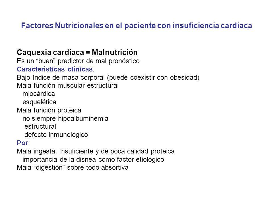 Factores Nutricionales en el paciente con insuficiencia cardiaca Caquexia cardiaca = Malnutrición Es un buen predictor de mal pronóstico Característic