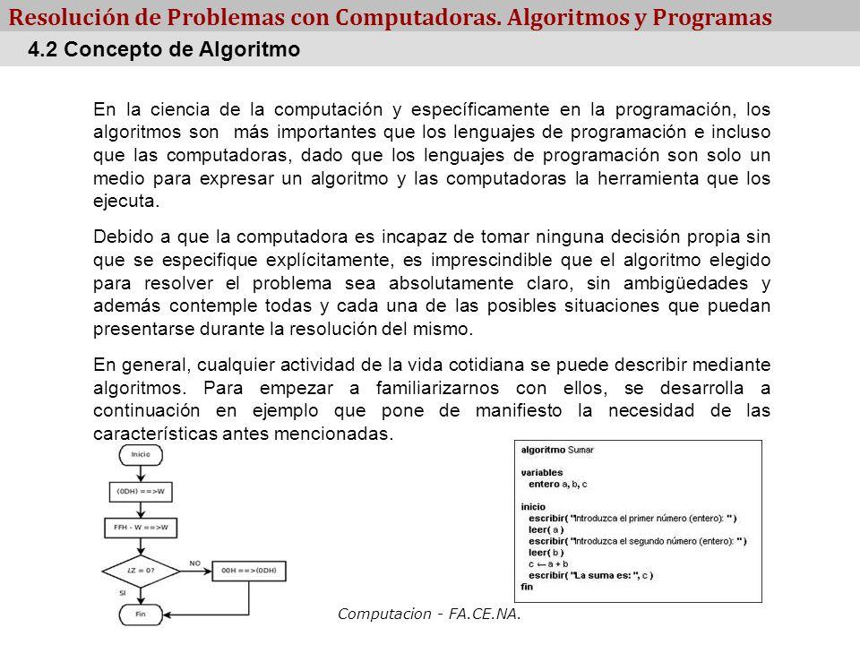 Computacion - FA.CE.NA. Resolución de Problemas con Computadoras. Algoritmos y Programas En la ciencia de la computación y específicamente en la progr