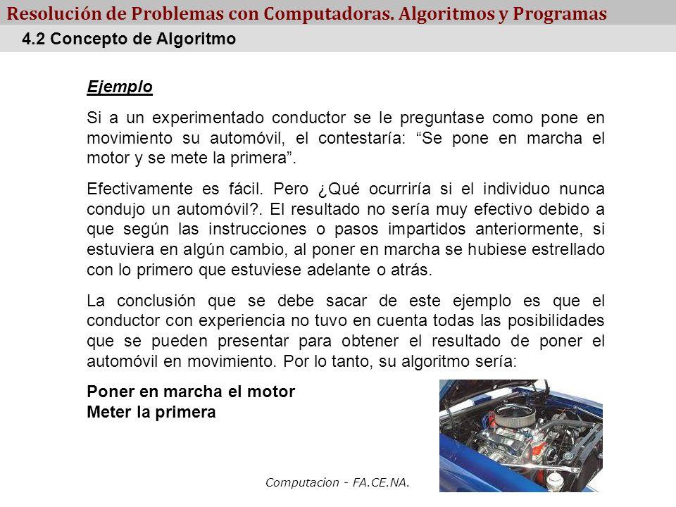 Computacion - FA.CE.NA. Resolución de Problemas con Computadoras. Algoritmos y Programas Ejemplo Si a un experimentado conductor se le preguntase como