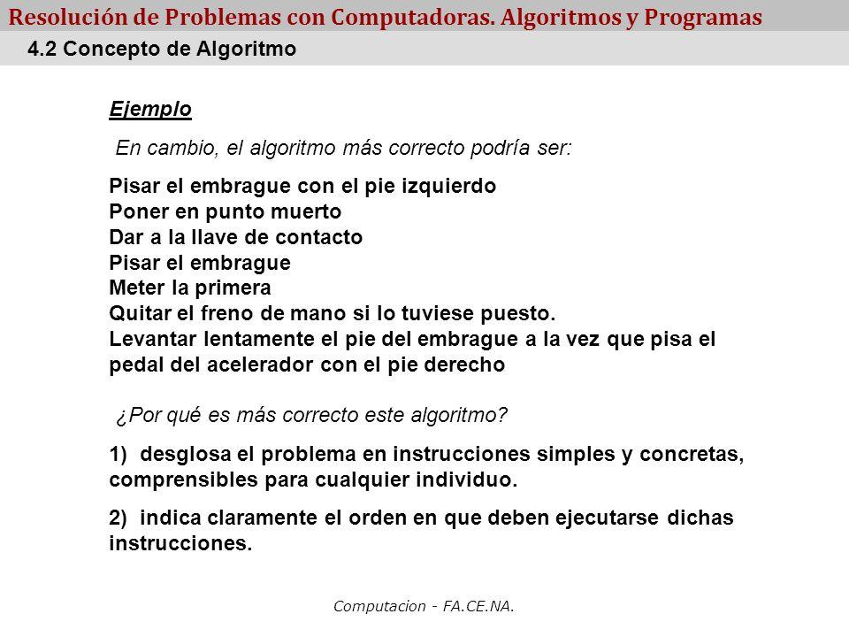 Computacion - FA.CE.NA. Resolución de Problemas con Computadoras. Algoritmos y Programas Ejemplo En cambio, el algoritmo más correcto podría ser: Pisa
