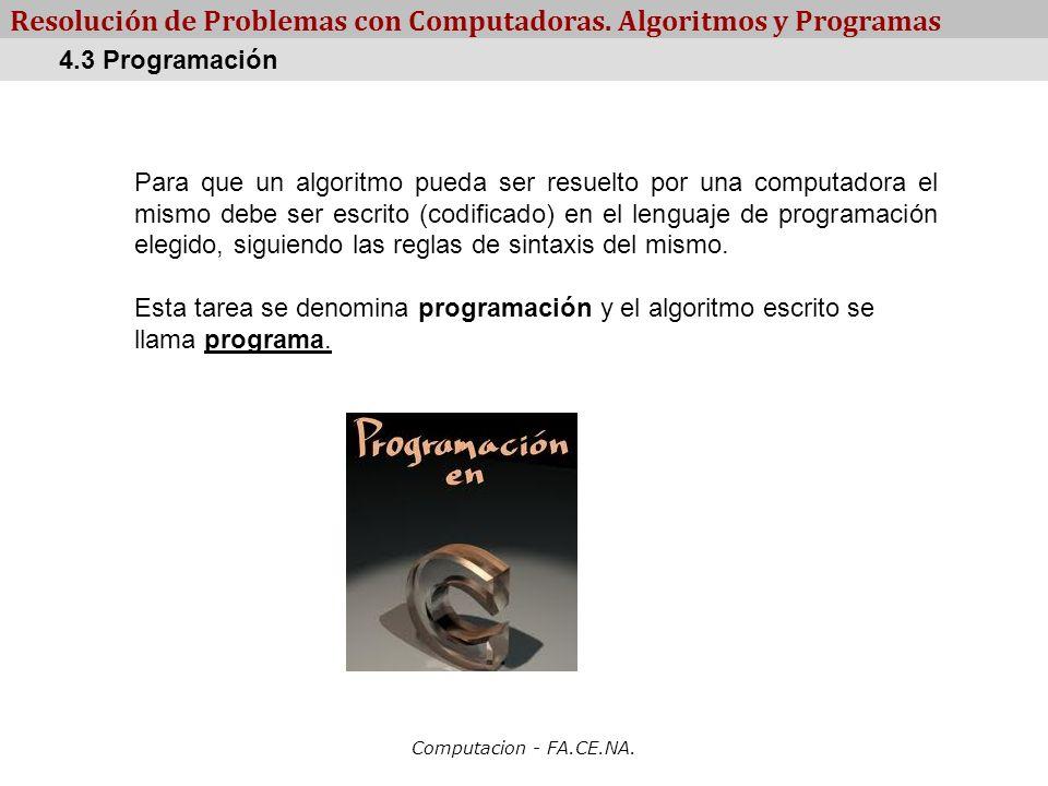 Computacion - FA.CE.NA. Resolución de Problemas con Computadoras. Algoritmos y Programas Para que un algoritmo pueda ser resuelto por una computadora