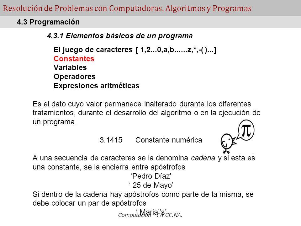Computacion - FA.CE.NA. Resolución de Problemas con Computadoras. Algoritmos y Programas 4.3.1 Elementos básicos de un programa El juego de caracteres