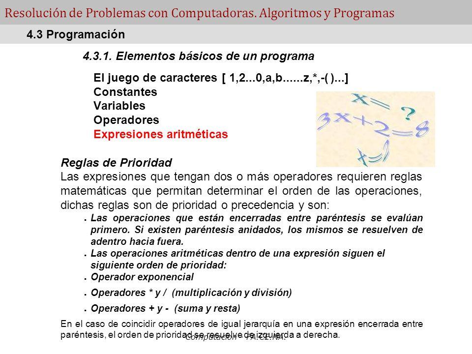 Computacion - FA.CE.NA. Resolución de Problemas con Computadoras. Algoritmos y Programas 4.3.1. Elementos básicos de un programa El juego de caractere