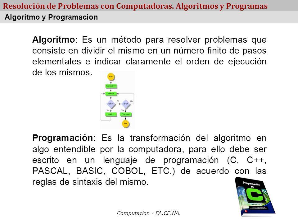 Computacion - FA.CE.NA. Resolución de Problemas con Computadoras. Algoritmos y Programas Algoritmo: Es un método para resolver problemas que consiste