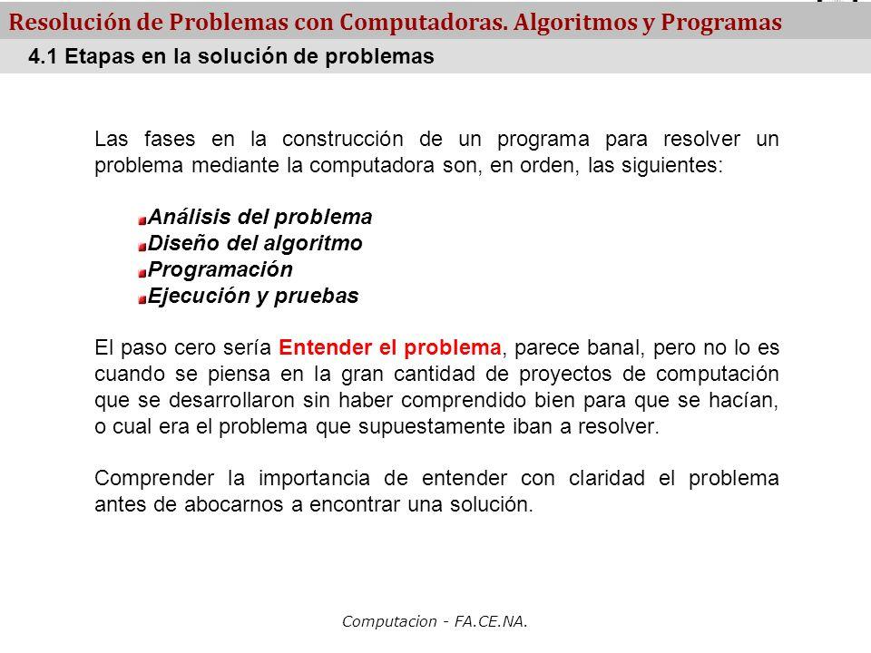 Computacion - FA.CE.NA. Resolución de Problemas con Computadoras. Algoritmos y Programas Las fases en la construcción de un programa para resolver un