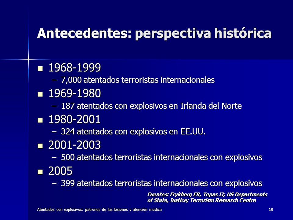 Atentados con explosivos: patrones de las lesiones y atención médica10 Antecedentes: perspectiva histórica 1968-1999 1968-1999 –7,000 atentados terror