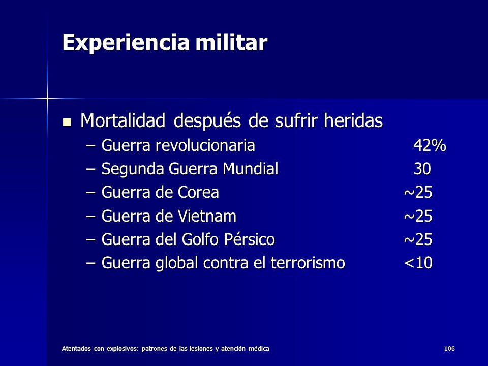 Atentados con explosivos: patrones de las lesiones y atención médica106 Experiencia militar Mortalidad después de sufrir heridas Mortalidad después de