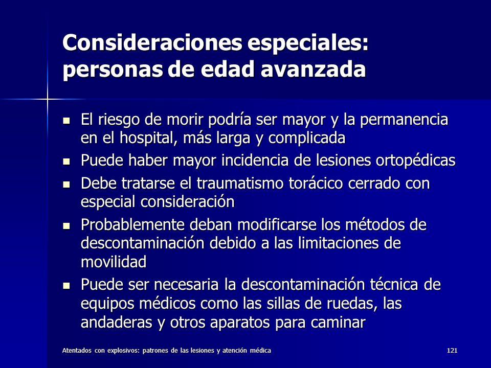 Atentados con explosivos: patrones de las lesiones y atención médica121 Consideraciones especiales: personas de edad avanzada El riesgo de morir podrí