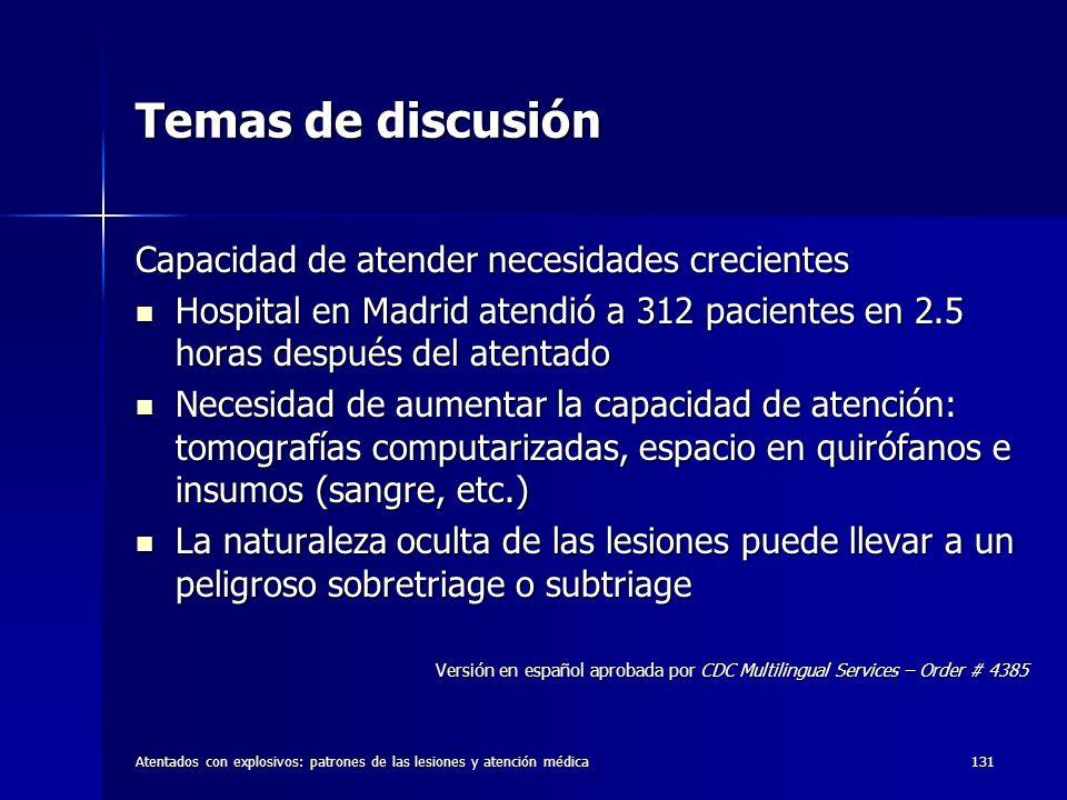 Atentados con explosivos: patrones de las lesiones y atención médica131 Temas de discusión Capacidad de atender necesidades crecientes Hospital en Mad