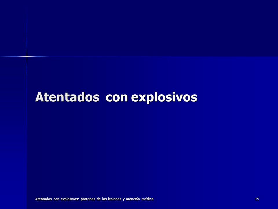 Atentados con explosivos: patrones de las lesiones y atención médica15 Atentados con explosivos