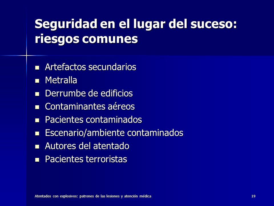 Atentados con explosivos: patrones de las lesiones y atención médica19 Seguridad en el lugar del suceso: riesgos comunes Artefactos secundarios Artefa