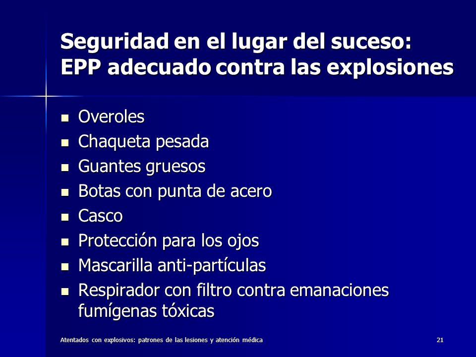 Atentados con explosivos: patrones de las lesiones y atención médica21 Seguridad en el lugar del suceso: EPP adecuado contra las explosiones Overoles