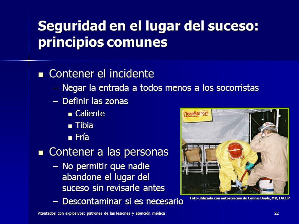 Atentados con explosivos: patrones de las lesiones y atención médica22 Seguridad en el lugar del suceso: principios comunes Contener el incidente Cont