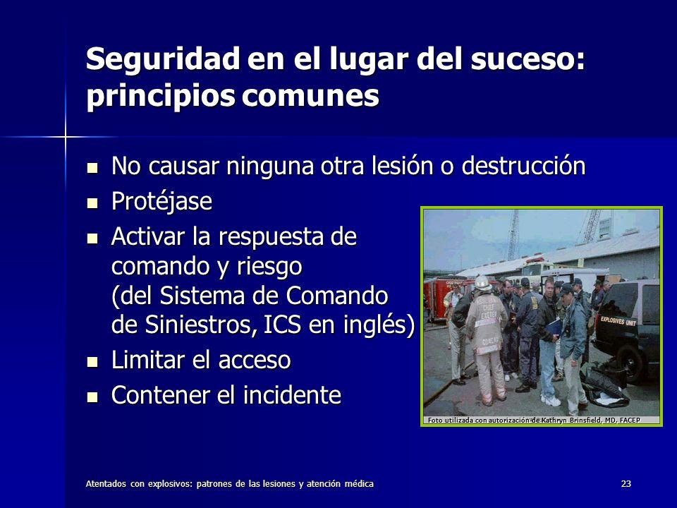 Atentados con explosivos: patrones de las lesiones y atención médica23 Seguridad en el lugar del suceso: principios comunes No causar ninguna otra les